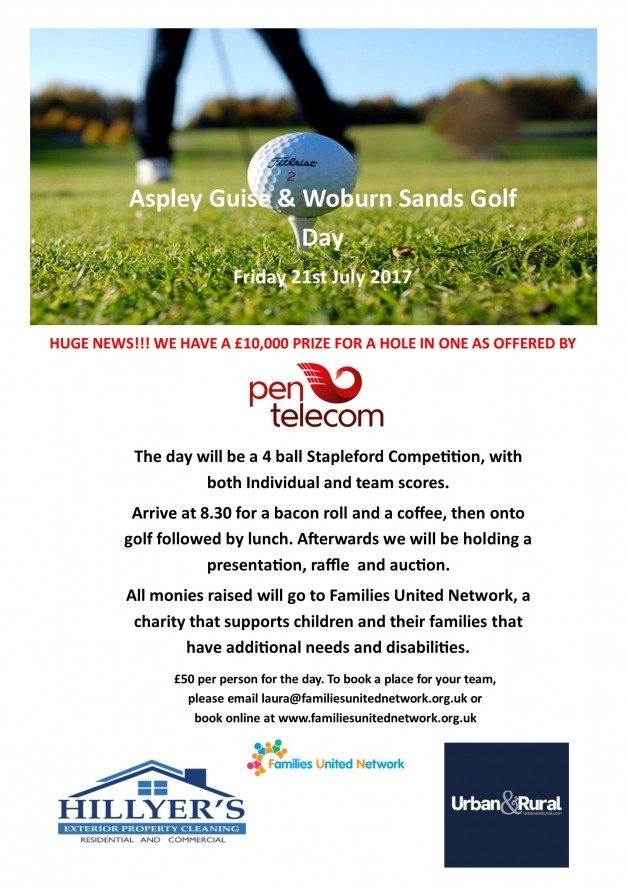 Aspley Guise Golf Day Poster updated with pen telecom A3