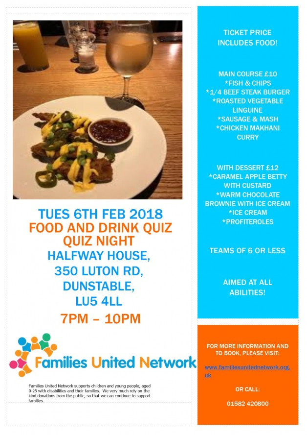 Food and Drink Charity Quiz Night - Families United Network